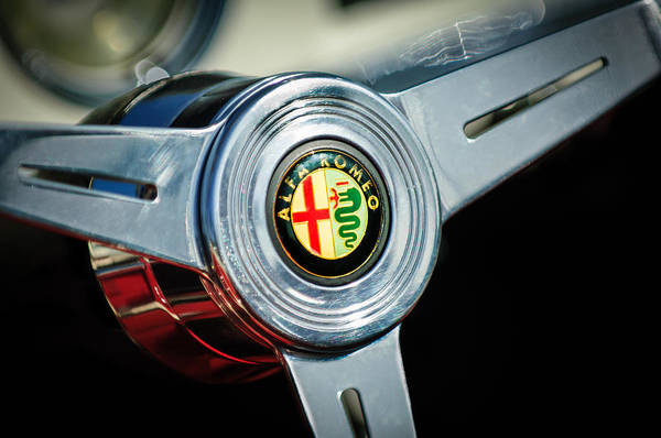 Photograph - 1958 Alfa Romeo Giulietta Spider Steering Wheel -0191c by Jill Reger