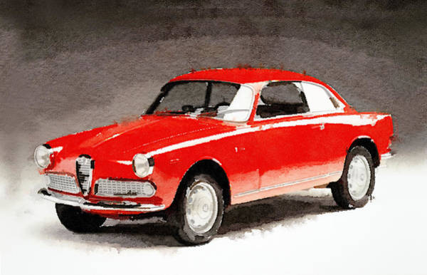 Car Mixed Media - 1958 Alfa Romeo Giulietta Sprint Watercolor by Naxart Studio