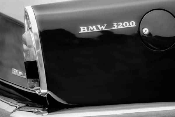 Photograph - 1958 Bmw 3200 Michelotti Vignale Roadster Grille Emblem -2467bw by Jill Reger