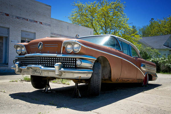 Photograph - 1958 Buick Limited Waiting For Repair In Dows Iowa by Mary Lee Dereske