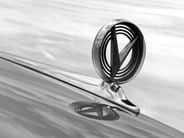 Photograph - 1958 Buick Roadmaster 75 Hood Ornament Black And White by Gill Billington