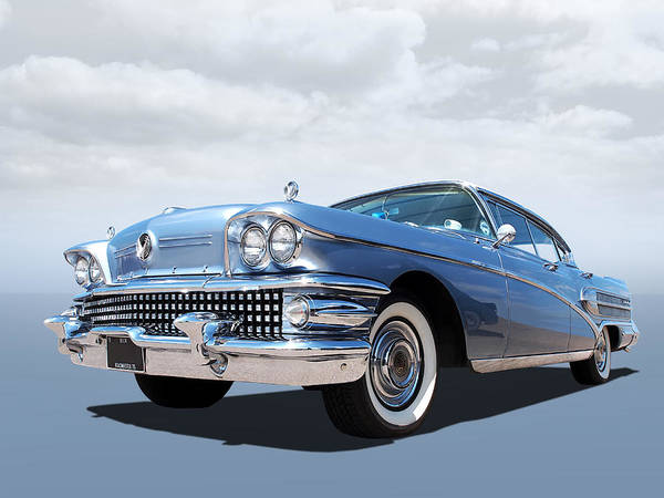 Photograph - 1958 Buick Roadmaster 75 In A Blue Mood by Gill Billington