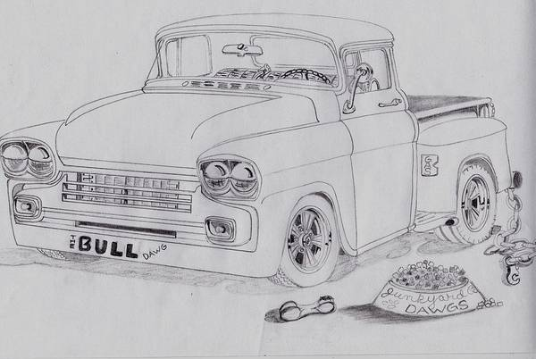Custom Truck Painting - 1958 Chevby Pick Up Junkyard Dawg Aka The Bull Dawg by Russell Boothe