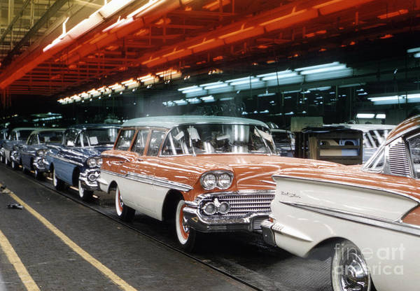 Wall Art - Photograph - 1958 Chevrolet Automobile Assembly Line by The Harrington Collection