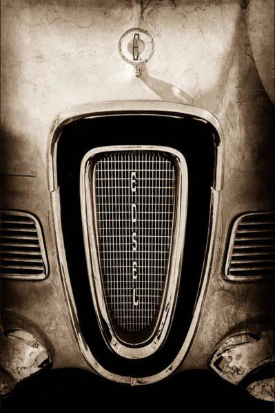 1958 Photograph - 1958 Edsel Pacer Grille Emblem - Hood Ornament by Jill Reger