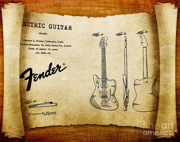 Tremolo Digital Art - 1958 Fender Electric Guitar Patent Art 1 by Nishanth Gopinathan
