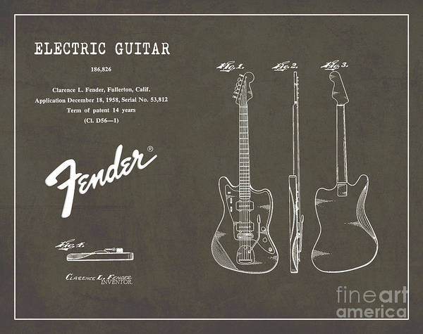 Vintage Patent Wall Art - Digital Art - 1958 Fender Electric Guitar Patent Art 2 by Nishanth Gopinathan