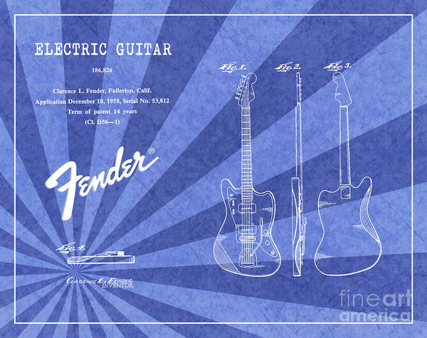 Tremolo Digital Art - 1958 Fender Electric Guitar Patent Art Blue Ray Pattern 1 by Nishanth Gopinathan