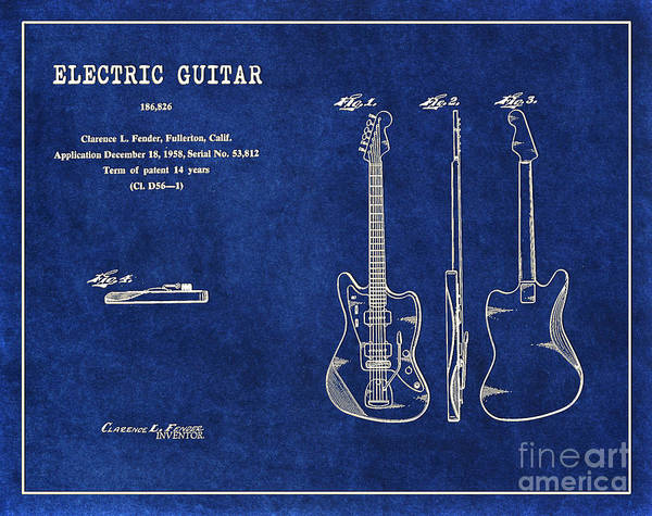 Tremolo Digital Art - 1958 Fender Electric Guitar Patent Art In White On Dark Blue Bac by Nishanth Gopinathan
