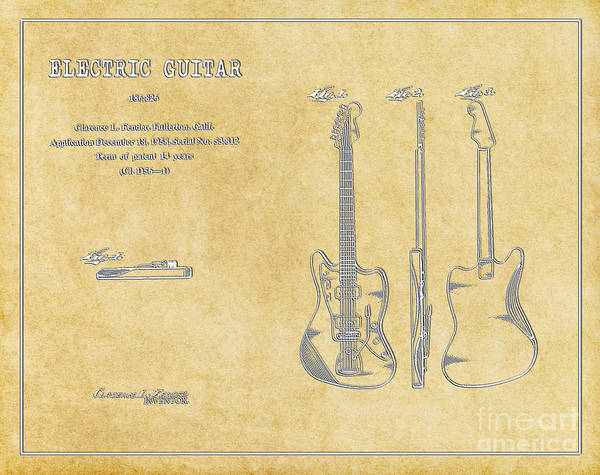 Tremolo Digital Art - 1958 Fender Electric Guitar Patent Art In White On Parchment 1 by Nishanth Gopinathan