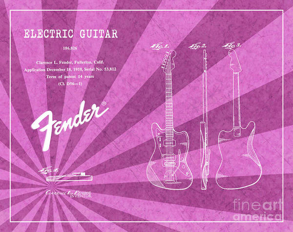 Tremolo Digital Art - 1958 Fender Electric Guitar Patent Art Pink Ray Pattern 1 by Nishanth Gopinathan