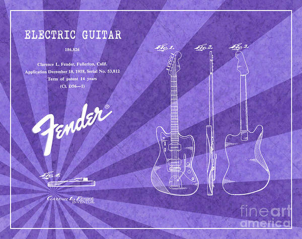Tremolo Digital Art - 1958 Fender Electric Guitar Patent Art Purple Ray Pattern 1 by Nishanth Gopinathan