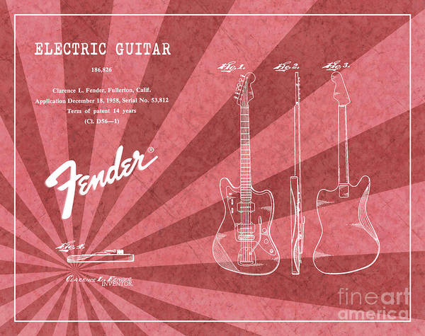 Tremolo Digital Art - 1958 Fender Electric Guitar Patent Art Red Ray Pattern 1 by Nishanth Gopinathan