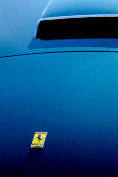 1958 Photograph - 1958 Ferrari 250 Gt Lwb California Spider Hood Emblem by Jill Reger
