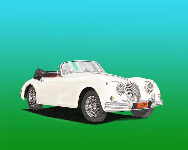 Back Door Painting - 1958 Jaguar X K 150 S Cabriolet by Jack Pumphrey