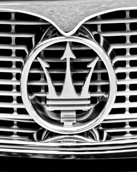 Photograph - 1958 Maserati Hood - Grille Emblem -0606bw45 by Jill Reger