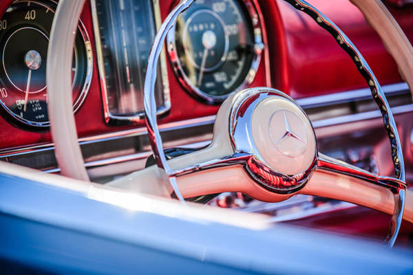 Photograph - 1958 Mercedes-benz 300sl Roadster Steering Wheel -1131c by Jill Reger
