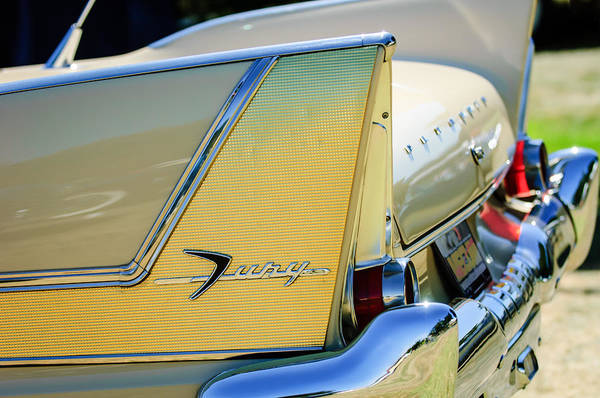 Plymouth Photograph - 1958 Plymouth Fury Golden Commando Taillight Emblem -3447c by Jill Reger