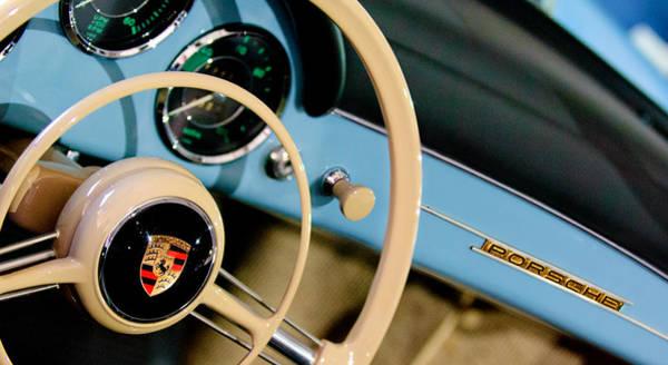 1958 Photograph - 1958 Porsche 356 A Speedster Steering Wheel Emblem by Jill Reger