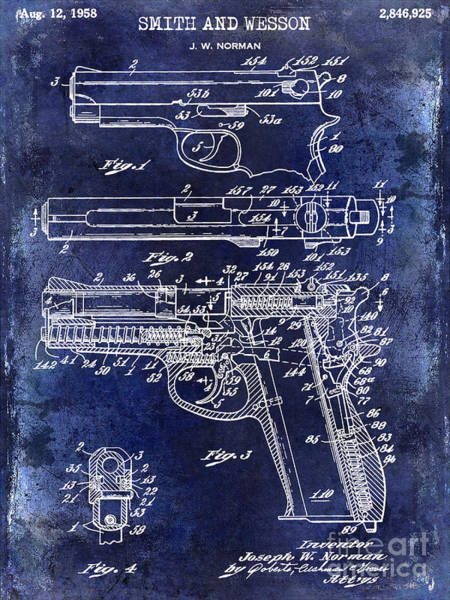 Wesson Photograph - 1958 Smith And Wesson Firearm Patent Drawing Blue by Jon Neidert