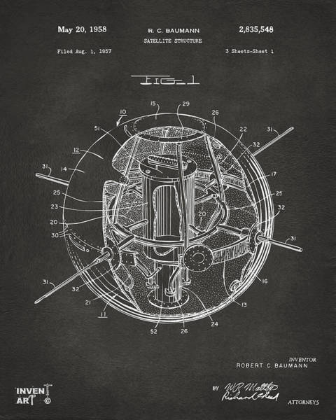 Digital Art - 1958 Space Satellite Structure Patent Gray by Nikki Marie Smith