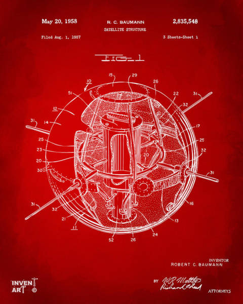 Digital Art - 1958 Space Satellite Structure Patent Red by Nikki Marie Smith