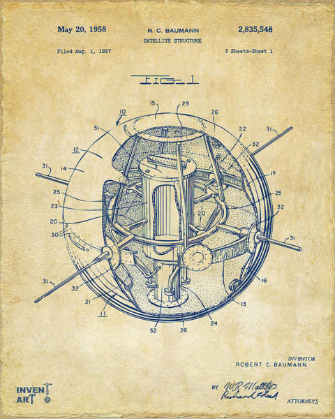 Digital Art - 1958 Space Satellite Structure Patent Vintage by Nikki Marie Smith