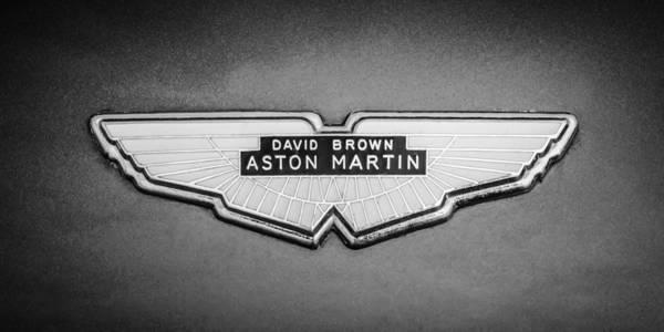 Photograph - 1959 Aston Martin Db4 Gt Hood Emblem -0127bw by Jill Reger