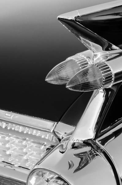 Eldorado Photograph - 1959 Cadillac Eldorado Taillight -075bw by Jill Reger