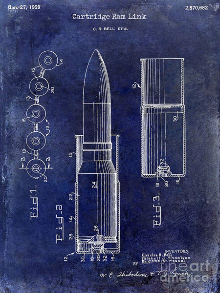 Linked Photograph - 1959 Cartidge Ram Link Patent Drawing Blue by Jon Neidert