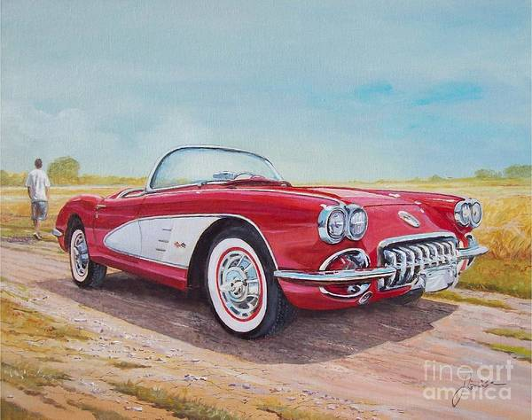 Painting - 1959 Chevrolet Corvette Cabriolet by Sinisa Saratlic