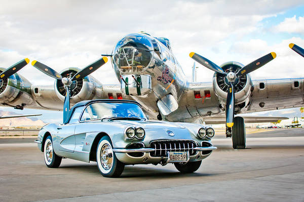 B-17 Bomber Photograph - 1959 Chevrolet Corvette by Jill Reger