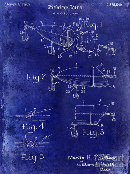 1959 Fish Lure Patent Drawing Blue Art Print
