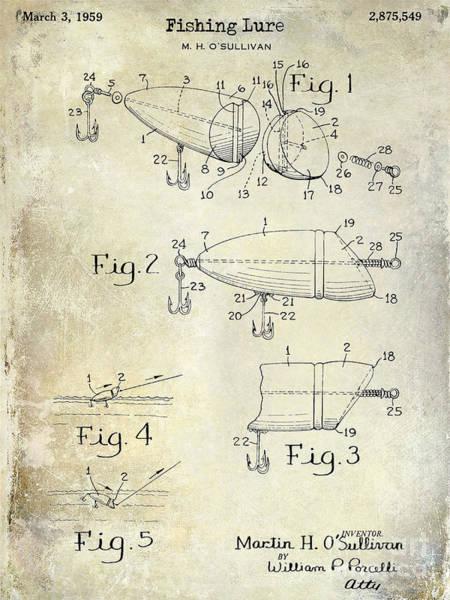 1959 Fish Lure Patent Drawing  Art Print