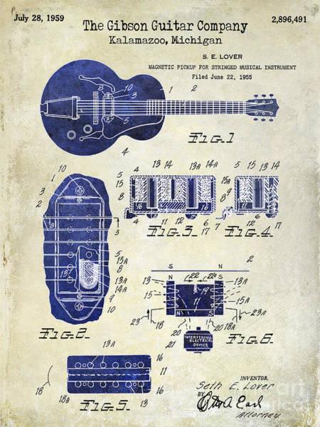 Guitar Neck Photograph - 1959 Gibson Guitar Patent Drawing 2 Tone by Jon Neidert
