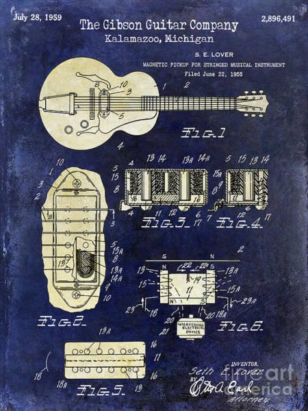 Guitar Neck Photograph - 1959 Gibson Guitar Patent Drawing Blue 2 Tone by Jon Neidert