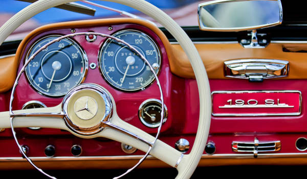 Auto Show Photograph - 1959 Mercedes-benz 190 Sl Steering Wheel by Jill Reger