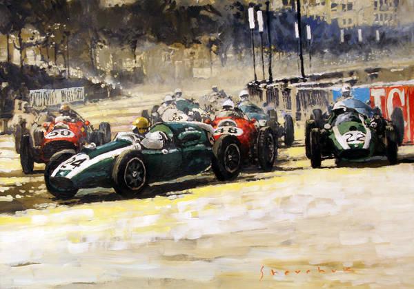 Wall Art - Painting - 1959 Monaco Gp  #24 Cooper Climax T51 Jack Brabham Winner  by Yuriy Shevchuk