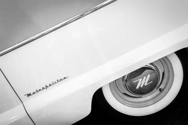 Photograph - 1959 Nash Metropolitan 1500 Convertible Wheel Emblem -0388bw by Jill Reger