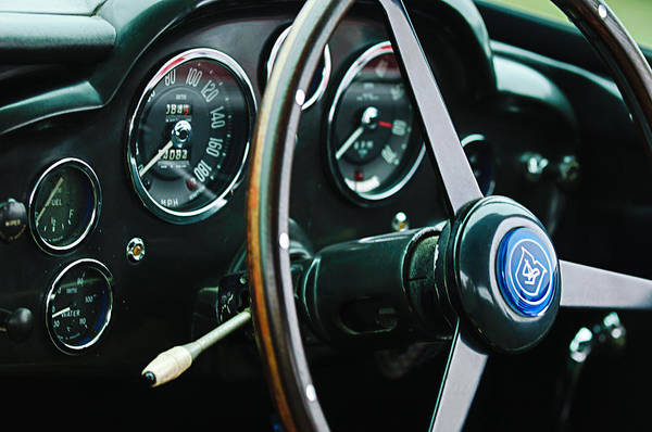 Photograph - 1960 Aston Martin Db4 Gt Coupe' Steering Wheel Emblem by Jill Reger