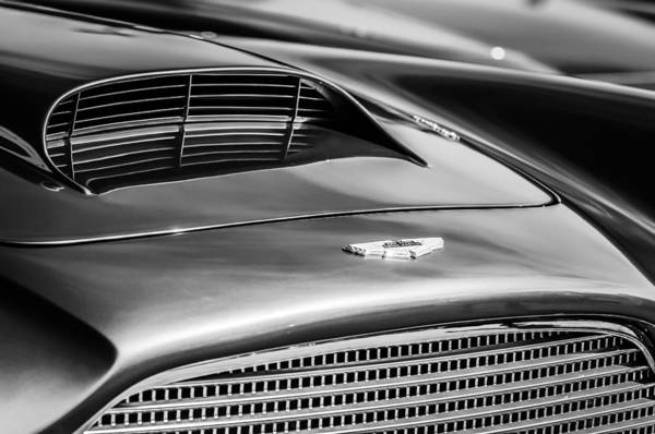 Photograph - 1960 Aston Martin Db4 Series II Grille - Hood Emblem -1208bw by Jill Reger