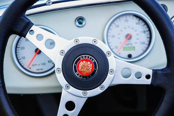 Healey Photograph - 1960 Austin-healey -bugeye  Sprite Mk I Steering Wheel Emblem by Jill Reger