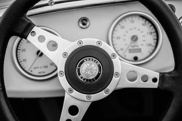 Healey Photograph - 1960 Austin-healey -bugeye Sprite Mk I Steering Wheel Emblem -1155bw by Jill Reger