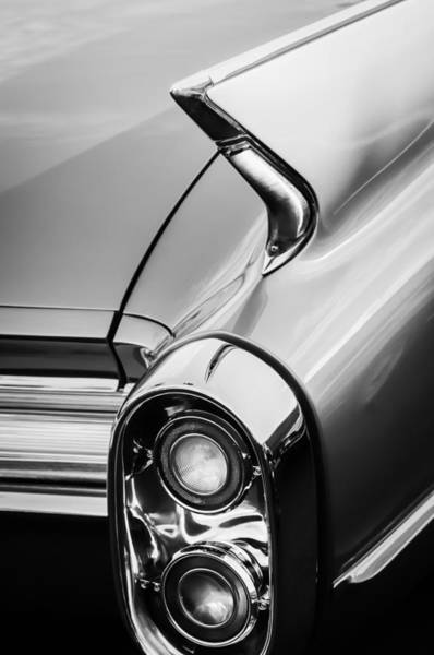 Photograph - 1960 Cadillac Series 62 Convertible Taillight -1040bw by Jill Reger