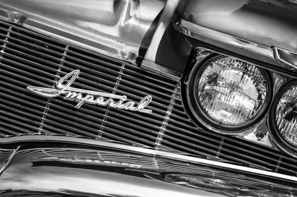 Photograph - 1960 Chrysler Imperial Grille Emblem -0269bw by Jill Reger