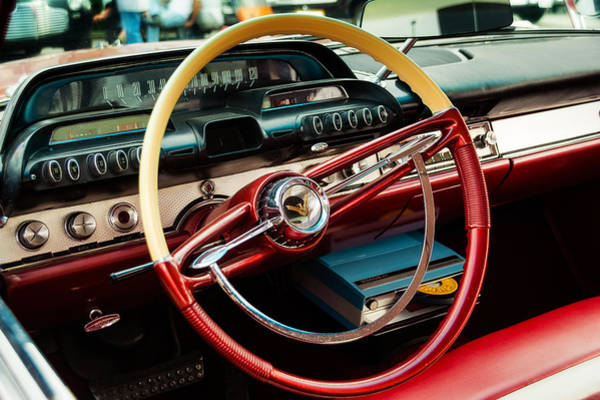 Car Show Photograph - 1960 Desoto Fireflite Coupe Steering Wheel And Dash by Jon Woodhams