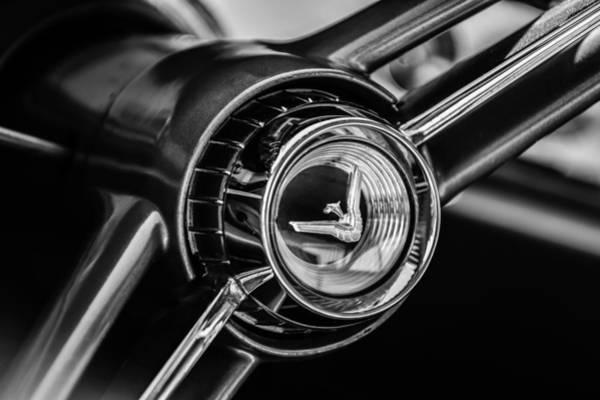 Photograph - 1960 Desoto Fireflite Two-door Hardtop Steering Wheel Embelm -0950bw by Jill Reger