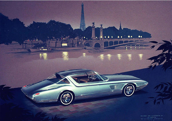 Car Show Painting - 1960 Desoto  Vintage Styling Design Concept Painting Paris by John Samsen