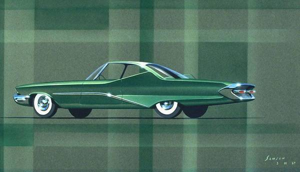 Wall Art - Painting - 1960 Desoto  Vintage Styling Design Concept Rendering Sketch by John Samsen