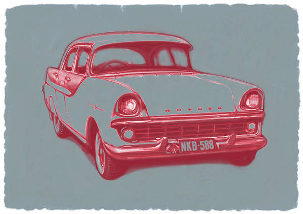 Influence Drawing - 1960 Fb Holden Car Art Sketch Poster by Kim Wang